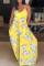 Yellow Sexy Casual Print Backless Spaghetti Strap Sleeveless Dress