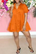 Orange Fashion Casual Solid Basic Turndown Collar Short Sleeve Dress