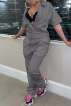Grey Fashion Casual Solid Basic Turndown Collar Regular Jumpsuits
