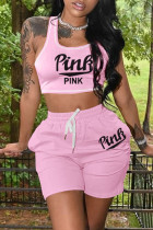 Pink Casual Sportswear Letter Print Vests U Neck Sleeveless Two Pieces