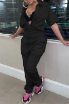 Black Fashion Casual Solid Basic Turndown Collar Regular Jumpsuits