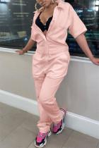 Pink Fashion Casual Solid Basic Turndown Collar Regular Jumpsuits