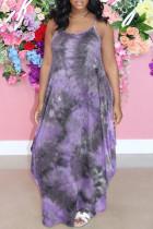 Purple Fashion Sexy Tie Dye Printing Spaghetti Strap Sleeveless Dress