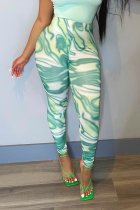 Green Sexy Print Split Joint See-through Sports