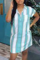 Cyan Fashion Casual Striped Print Basic Turndown Collar Shirt Dress