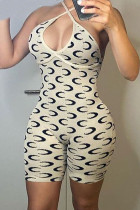 Beige Sexy Print Split Joint Backless Halter Skinny Jumpsuits