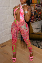 Pink Fashion Sexy Print Backless Halter Skinny Jumpsuits
