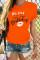 Orange O Neck Short Sleeve Letter Print Patchwork