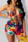 Red Sexy Print Hollowed Out Draw String Swimwears