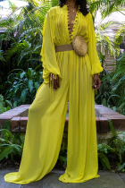 Yellow Sexy Solid Mesh V Neck Loose Jumpsuits