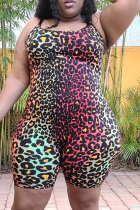 Black Sexy Print Split Joint Spaghetti Strap Plus Size Jumpsuits