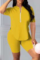 Yellow Casual Solid Split Joint Zipper Collar Short Sleeve Two Pieces