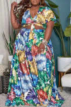 Blue Yellow Red  Vacation Print Bandage Split Joint V Neck Pleated Plus Size Two Pieces