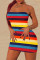 Rainbow Color Fashion Sexy Striped Print Backless Strapless Sleeveless Dress