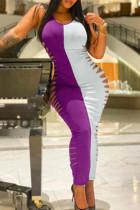 Purple Fashion Sexy Patchwork Ripped O Neck Vest Dress