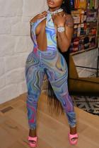 Royal Blue Fashion Sexy Print Backless Halter Skinny Jumpsuits
