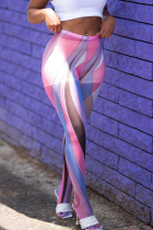 Pink Sexy Print Split Joint See-through Sports