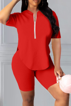 Red Casual Solid Split Joint Zipper Collar Short Sleeve Two Pieces