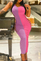 Pink Fashion Sexy Patchwork Ripped O Neck Vest Dress