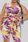 Purple Sexy Print Split Joint Square Collar Plus Size Two Pieces
