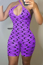 Purple Sexy Print Split Joint Backless Halter Skinny Jumpsuits