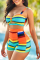 Yellow Sexy Striped Hollowed Out Split Joint Swimwears