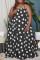 Black Sexy Casual Plus Size Dot Print Backless Halter Sleeveless Dress