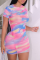 Pink Sexy Patchwork Tie-dye O Neck Pencil Skirt Dresses
