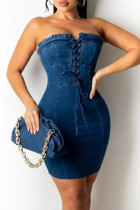 Blue Fashion Sexy Solid Frenulum Backless Strapless Sleeveless Dress