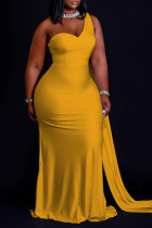Yellow Casual Solid Split Joint One Shoulder Trumpet Mermaid Dresses