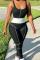 Black Sportswear Solid Split Joint U Neck Skinny Jumpsuits