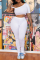 White Sexy Solid Split Joint One Shoulder Short Sleeve Two Pieces
