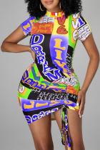Purple Sexy Print Split Joint O Neck Irregular Dress Dresses