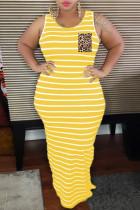 Yellow Casual Striped Plus Size Print Basic O Neck Vest Dress