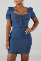 Light Blue Fashion Casual Solid Basic Square Collar Short Sleeve Dress