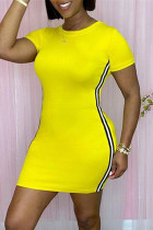 Yellow Fashion Casual Solid Split Joint O Neck Short Sleeve Dress