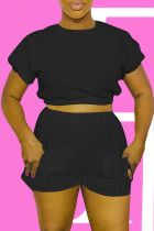 Black Fashion Casual Solid Bandage With Bow O Neck Short Sleeve Two Pieces