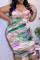 Purple Sexy Print Split Joint Spaghetti Strap Pencil Skirt Plus Size Dresses
