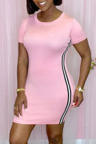 Pink Fashion Casual Solid Split Joint O Neck Short Sleeve Dress