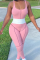 Pink Sportswear Solid Split Joint U Neck Skinny Jumpsuits