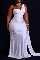 White Casual Solid Split Joint One Shoulder Trumpet Mermaid Dresses