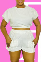 White Fashion Casual Solid Bandage With Bow O Neck Short Sleeve Two Pieces