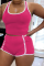 Rose Red Casual Solid Split Joint U Neck Sleeveless Two Pieces