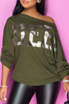 Army Green Fashion Celebrities Adult Print Letter Oblique Tops
