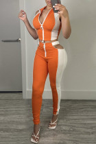 Orange Sexy Casual Patchwork Hollowed Out Zipper Collar Sleeveless Two Pieces