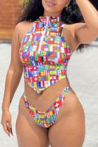 Colour Fashion Sexy Print Asymmetrical Swimwears