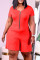 Orange Red Fashion Casual Solid Zipper O Neck Plus Size Jumpsuits