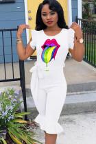 White Sexy Fashion Print Solid Ruffled Sleeveless O Neck Jumpsuits