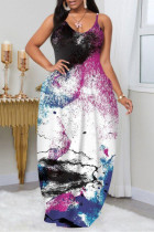 Black Purple Fashion Plus Size Solid Backless Spaghetti Strap Sleeveless Dress