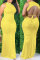 Yellow Casual Solid Backless Half A Turtleneck Straight Dresses